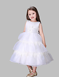 A-line Tea-length Flower Girl Dress - Cotton / Organza / Satin Sleeveless Jewel with