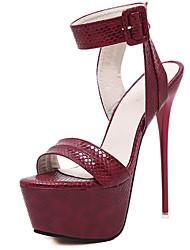 Damen-High Heels-Lässig-PU-StöckelabsatzSchwarz Rot