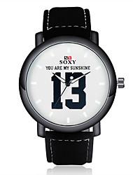 Мужской Модные часы Кварцевый Повседневные часы Кожа Группа Часы с текстом Черный Коричневый