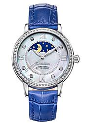 Mulheres Relógio de Moda Quartzo Japonês Impermeável / Fase da lua Couro Banda Branco / Azul / Vermelho marca