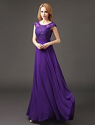 Bridesmaid Dress Floor-length Chiffon - A-line Scoop with Appliques
