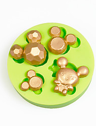 Cartoon Mouse Head Cupcake Decoration Silicone Fondant Mold Sugarcraft Tools Polymer Clay Chocolate Candy Making