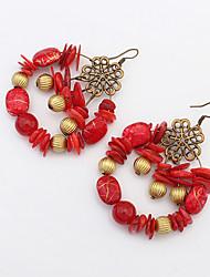 Femme Boucles d'oreille goutte Boucle d'oreille Mode Bohême Européen Vintage bijoux de fantaisie Acrylique Alliage Forme de Cercle Bijoux