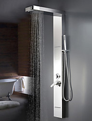 Contemporary Wall Mounted Waterfall / Widespread with  Ceramic Valve Two Handles One Hole for  Chrome , Shower Faucet