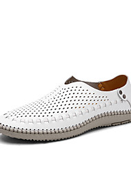 Men's Flats Summer Comfort PU Outdoor Flat Heel Slip-on Blue / Brown / White Walking