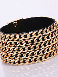 European Style Fashion Multilayer Chain Crude Wild PU Magnet Alloy Buckle Bracelet
