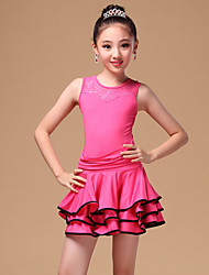 Latin Dance Kids' Dancewear Dresses Children's Performance Milk Fiber Pleated 2 Pieces Black / Fuchsia / Burgundy