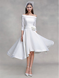 Lanting Bride® A-line Wedding Dress Asymmetrical Off-the-shoulder Chiffon / Satin with Button / Flower