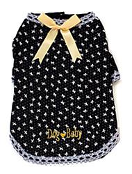 Chien T-shirt Noir / Incanardin Vêtements pour Chien Eté Nœud papillon