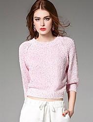 sólido rosa pullover, calle de manga larga elegante ángel de las mujeres