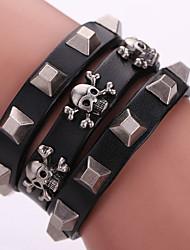 Punk Shining Rivet Skull Wide Leather Bracelets 1pc