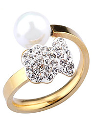 18K gold diamond ring opening high-grade pearls bearImitation Diamond Birthstone