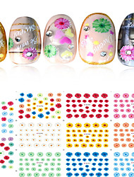 1pcs Include 11 Styles Nail Art  Stickers Simulate Design Colorful Flowers Image E292-302