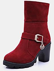 Feminino-Botas-Botas da Moda-Rasteiro-Preto Vermelho-Flanelado-Casual