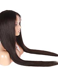 brasileiro do cabelo virgem sexy de seda peruca de cabelo humano laço completo reta 18-30 polegadas com a cor natural preto
