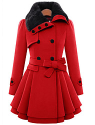 TS Women's Casual/Daily Cute Coat,Solid Shirt Collar Long Sleeve Winter Red / Brown Wool / Cotton Thick