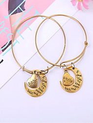 Alloy Golden Adjustable Bangle Bracelet