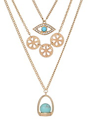 Necklace Pendant Necklaces / Chain Necklaces Jewelry Daily / Casual Double-layer / Fashionable Alloy / Gem Gold 1pc Gift