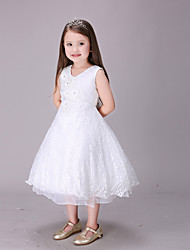 A-line Tea-length Flower Girl Dress - Cotton / Lace / Organza / Satin Sleeveless V-neck with Appliques