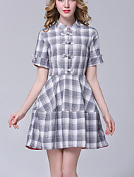 Women's Casual/Daily Simple Loose Dress,Print Stand Knee-length Elegant Short Sleeve Gray Cotton Summer