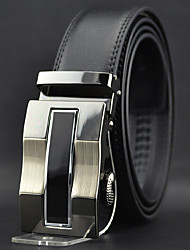 Men Black Business Automatic Buckle Wide Belt,Work / Casual Leather