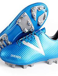 Sapatos Futebol Masculino Preto / Azul Couro Ecológico