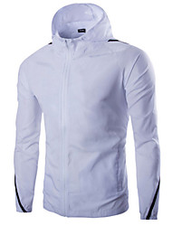 Men's Casual  Sunscreen Long Sleeved Hooded Jacket,Cotton / Polyester Color Block Black / Blue / White