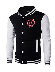 Pull à capuche & Sweatshirt Pour des hommes A Motifs / Mosaïque Décontracté / Sport Coton Manches longues Rouge / Blanc
