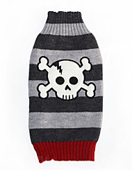 Cat / Dog Costume / Sweater Gray Winter / Spring/Fall Skulls Striped, Dog Clothes / Dog Clothing