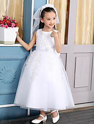 Ball Gown Tea-length Flower Girl Dress - Cotton / Satin / Tulle / Polyester Sleeveless Jewel with Flower(s) / Lace