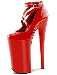 Feminino-Saltos-Plataforma Sapatos clube-Salto Agulha Plataforma-Preto Vermelho Branco-Couro Envernizado-Casamento Festas & Noite