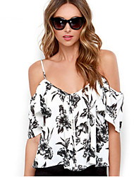 Women's Print Black / Gray Vest , Off Shoulder Sleeveless