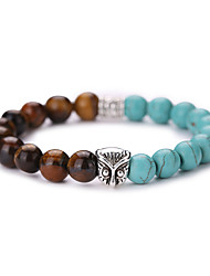 New Arrival Nature Stone Owl Beads Natural Turquoise Bracelets Tiger Beads Bracelet #YMGS1018