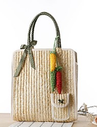 STYLE-CICI® Women Straw Tote Purple / Green / Red