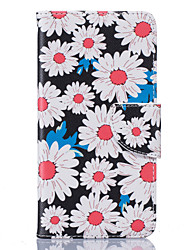 White Chrysanthemum Pattern Card Phone Holster for LG K7/K8/K10