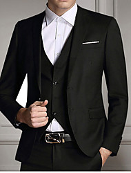 Suits Slim Fit Notch Single Breasted Two-buttons Polyester Solid 3 Pieces Black Straight Flapped None (Flat Front) Black None (Flat Front)