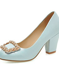 Women's Shoes PU Summer/ Round Toe Heels Office & Career / Casual Chunky Heel Sparkling Glitter Blue / Pink / White