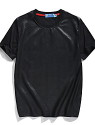 Masculino Camiseta Poliéster Mosaico de Retalhos Manga Curta Casual / Esporte-Preto