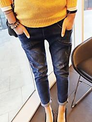 Maternidade Calças Maternidade Jeans Moda de Rua Com Stretch Algodão