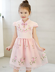 Girl's Cotton Summer Stand Collar Flower Embroider Yarn Princess Dress