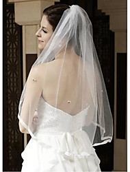Wedding Veil One-tier Blusher Veils / Elbow Veils / Fingertip Veils Ribbon Edge Tulle White White / Ivory