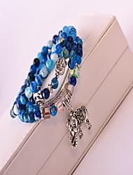 Bracelet Bracelets de rive Cristal / Gemme Forme de Cercle Mode / Bohemia style Quotidien / Décontracté Bijoux Cadeau Bleu,1pc