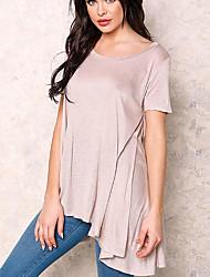 Damen Solide Street Schick Lässig/Alltäglich T-shirt,Rundhalsausschnitt Sommer / Herbst Kurzarm Rosa Baumwolle Undurchsichtig