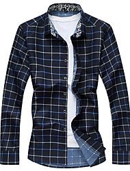 Men's Fashion Plaid Plus Size Business Slim Fit Casual Long Sleeve Shirt, Cotton / Casual / Plus Sizes