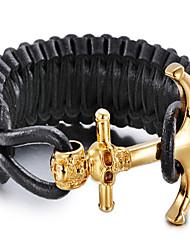cuir kalen®bracelet bracelet cuir style punk géométrique bijoux cadeau de jour noir, 1pc