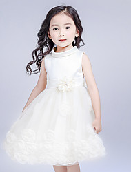 A-line Knee-length Flower Girl Dress - Cotton / Satin / Tulle Sleeveless High Neck with Bow(s) / Flower(s)