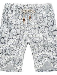 Masculino Shorts Casual / Esporte / Tamanhos Grandes Floral Linho Branco