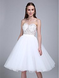 Knee-length Tulle Bridesmaid Dress Ball Gown Sweetheart with Appliques / Sequins