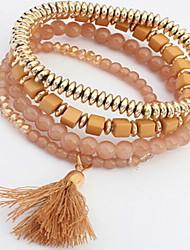 Acrylic Beads Strand Bracelet with Tissue Pendant