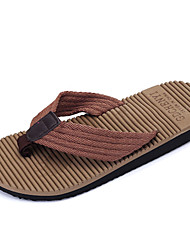 Men's Shoes Fabric Casual Flats / Slippers & Flip-Flops Casual Walking Flat / Braided Strap Black / Blue / Brown
